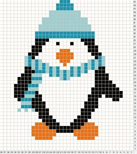 knitting pattern with animals motifs on penguin ready to knit or cross stitch brodering