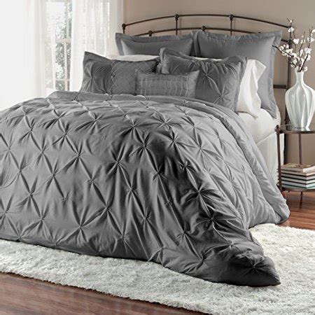 wrinkle free grey and white comforter set 7 pinch pleat puckering clearance bedding comforter