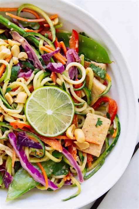 thai rainbow zucchini noodle bowl crispy tofu