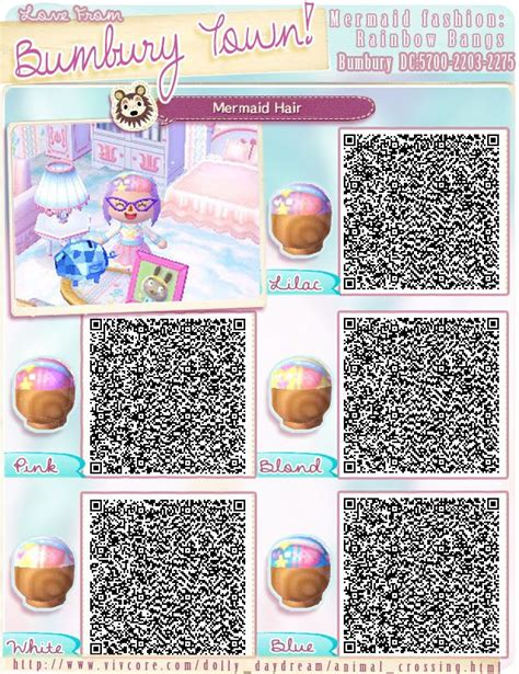 animal crossing new leaf qr code hairstyle bumburytown added a few more mermaid themed qr codes to