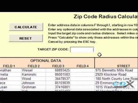 us area code exle zip code radius analysis in an excel template