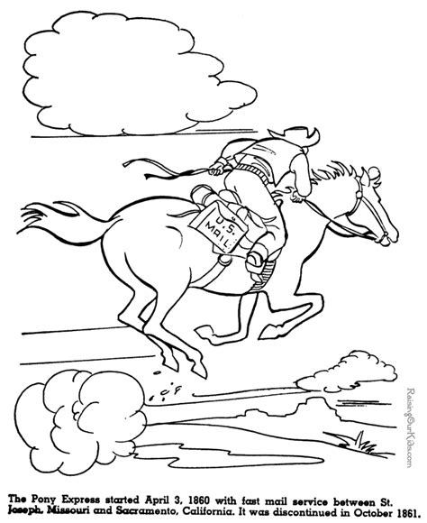 Pony Express Coloring Pages | the pony express history coloring pages for kids 063
