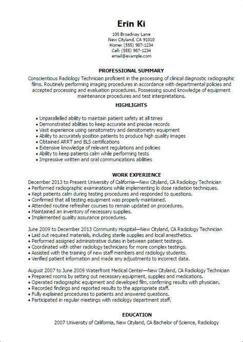 Radiology Resume by Professional Radiology Technician Templates To Showcase Your Talent Myperfectresume