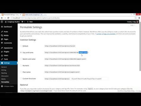 wordpress website tutorial video wordpress tutorial configuring permalink settings