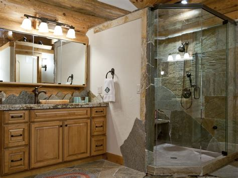 rustic master bathroom rustic master bathroom with high ceiling slate tile
