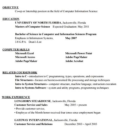 Curriculum Vitae Format Internship by Resume Format For Internship Student Free Sles
