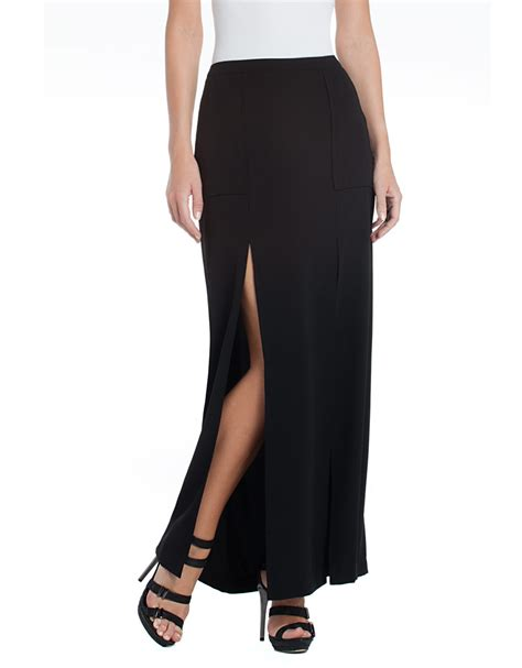 bcbgmaxazria slit maxi skirt in black lyst
