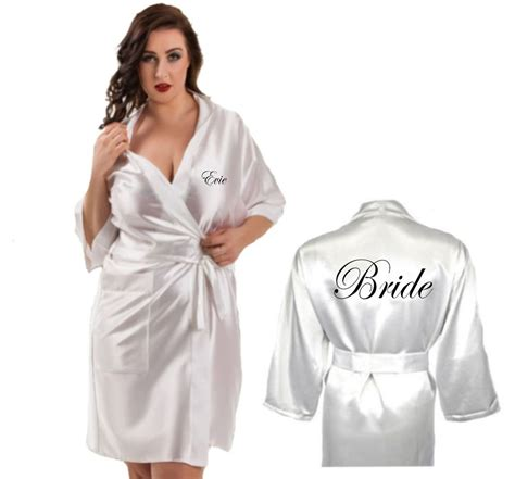 Bridesmaid Dressing Gowns by Personalised Ivory Satin Robe Dressing Gown Wedding