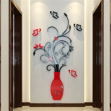 fashion red love heart wall stickers home decor life tree 3d vase tree love heart crystal arcylic wall stickers