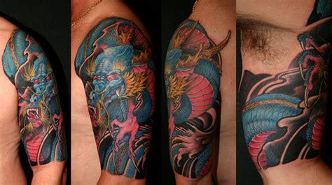 tattoo dragon half sleeve blue dragon half sleeve tattoo by yang zhuo tattoonow