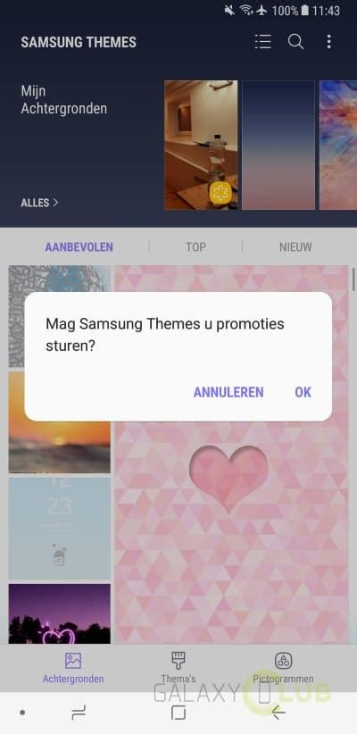 samsung theme store note 3 samsung theme store toont soms ongevraagd reclame