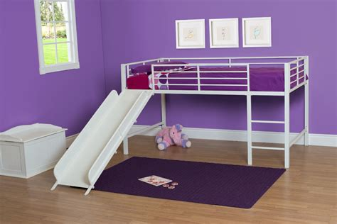 Metal Loft Bed With Slide by Low White Metal Loft Bed With Slide For Toddler And