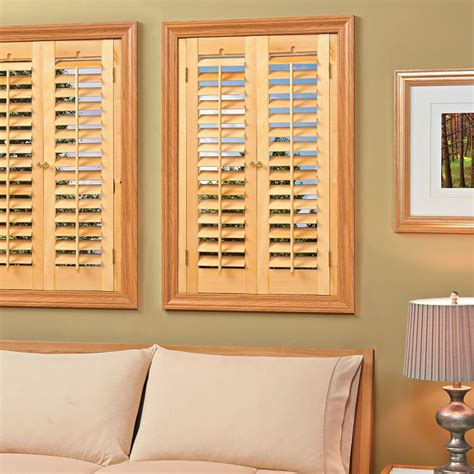 wooden shutters interior home depot homebasics plantation faux wood white interior shutter