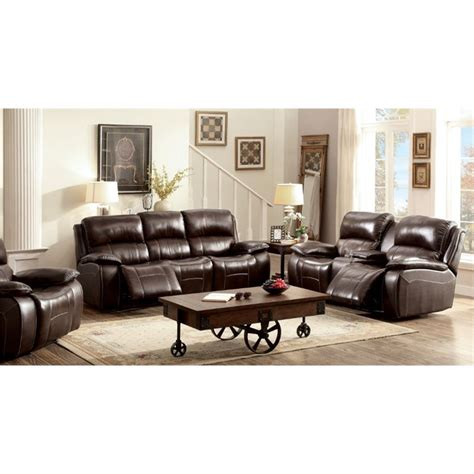 Grain Leather Sofa Set by Furniture Of America Marta Top Grain Leather Recliner Sofa