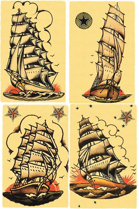 four 11 x 17 sailors grave ships salior jerry tattoo style