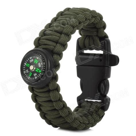 Outdoor Survival Braided Wrist Bracelet Emergency Rope w/ Compass / Whistle   Army Green   Black