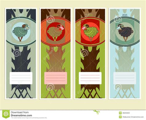 new year animals bookmarks bookmarks or banners with sheeps to the new year