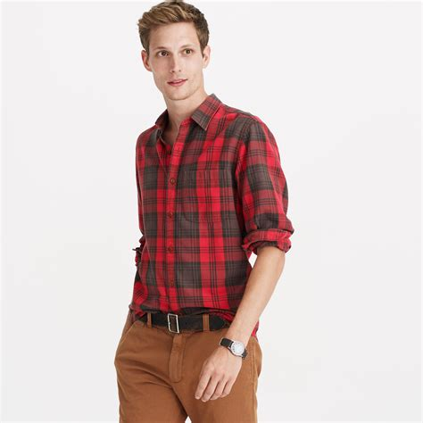 j crew midweight flannel shirt in brown plaid in brown for lyst