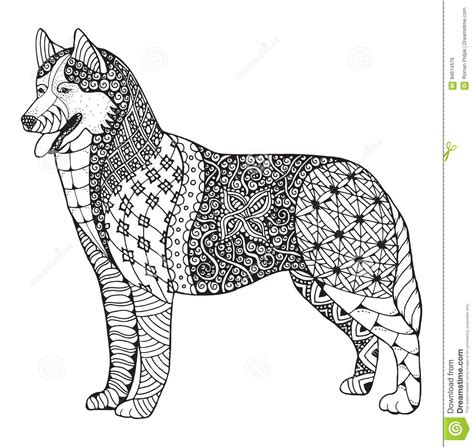 siberian husky coloring book stress relief coloring book for grown ups animal coloring book books siberian husky zentangle stylized vector