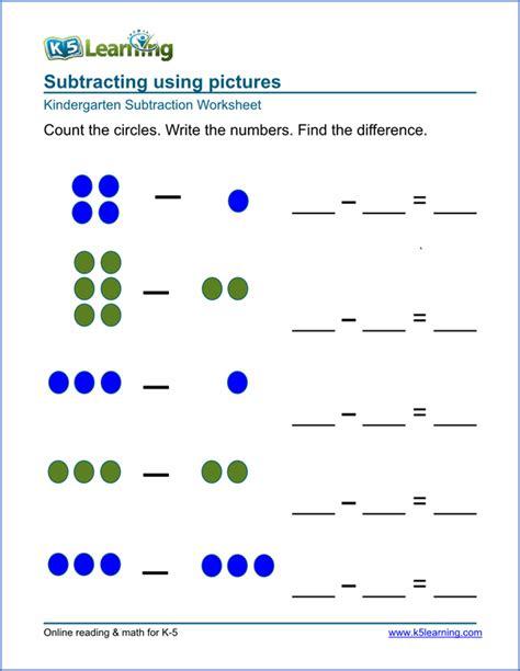 free math worksheets for kindergarten addition and subtraction free preschool kindergarten subtraction worksheets printable k5 learning