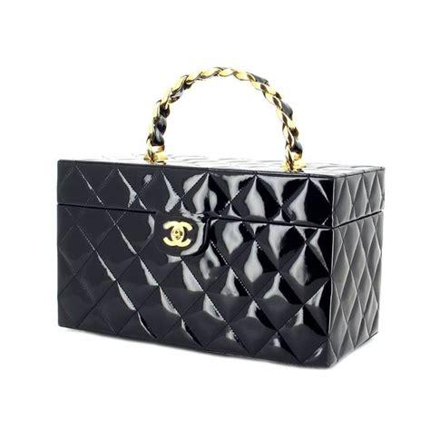 Vanité De Chaigne by Chanel Vanity Cuir Vernis Noir 215484 Sacs Et Bagages