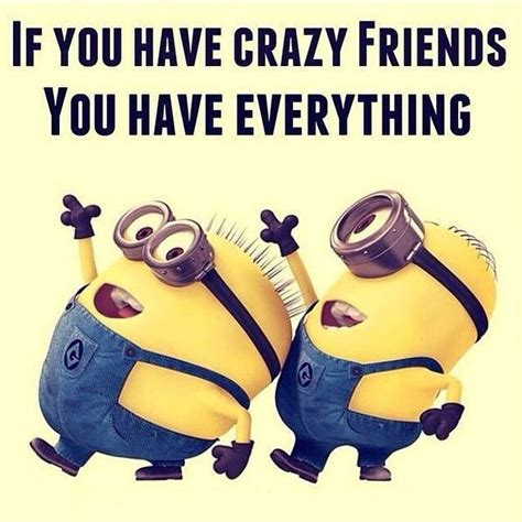 Crazy Friends Meme - if you have crazy friends you have everything minions
