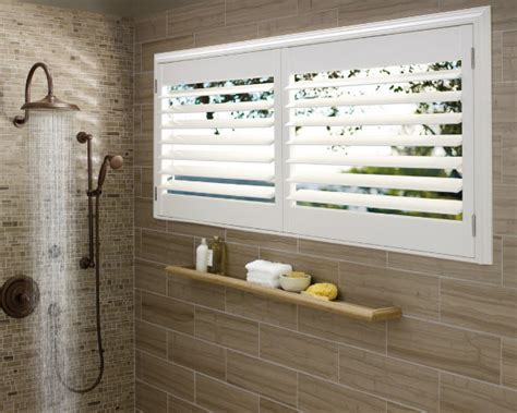 plantation shutters for bathroom window hunter douglas shutters plantation shutters cleveland