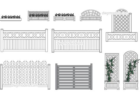 wood pattern elevation flower bed and wooden fences cad blocks free dwg file
