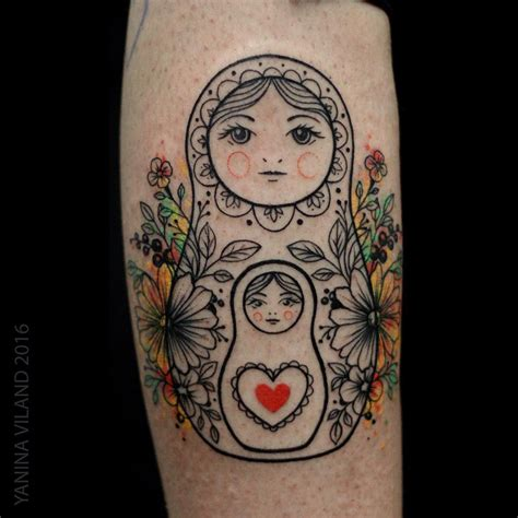 russian nesting doll tattoo russian doll from st petersburg artist yanina