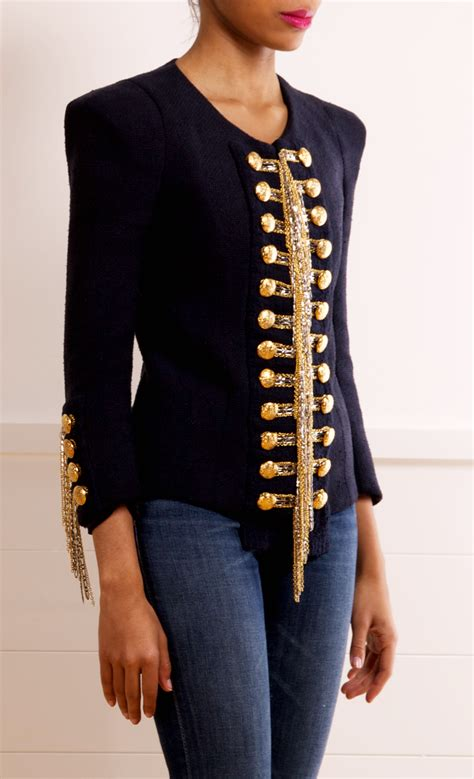 Embroidery Button Jacket balmain black jacket with gold embroidery and