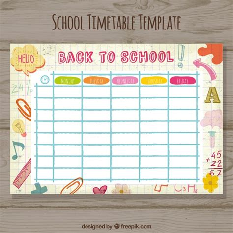 timetable outline template school timetable template vector free