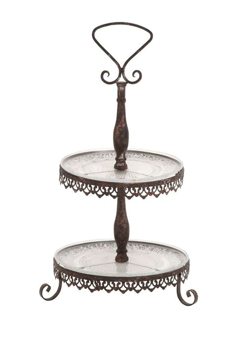home decor tray rustic vintage decor bronze metal glass two tier tray 29