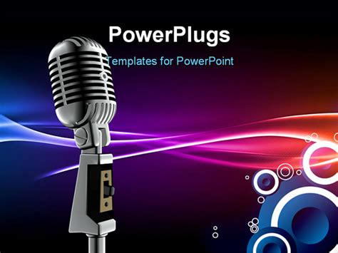 powerpoint template silver microphone and lifier on