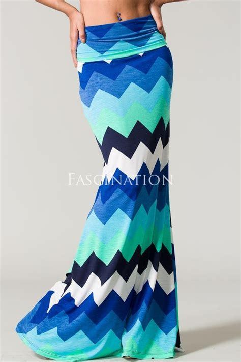 chevron blue maxi skirt favething