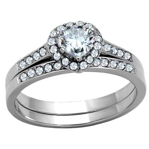 stainless steel cubic zirconia wedding ring sets wedding ring set stainless steel clear cz cubic zirconia