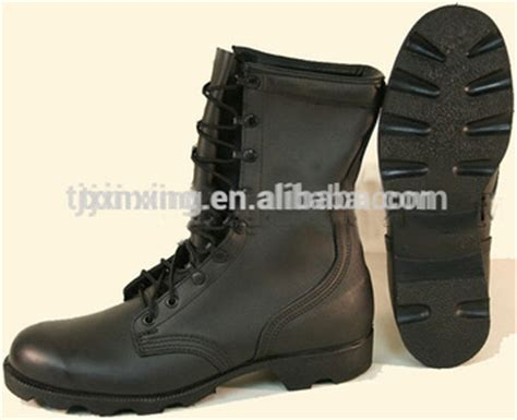 cheap black genuine leather combat used boots