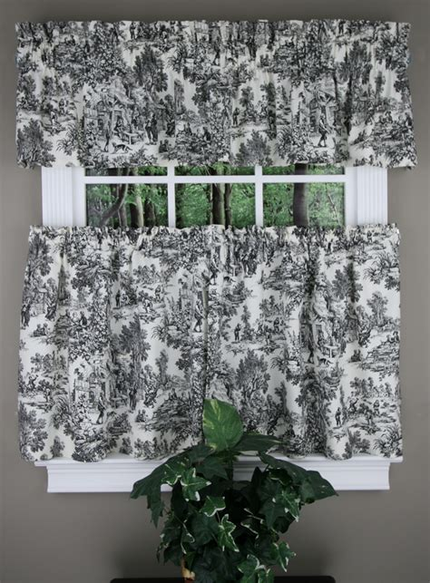 toile kitchen curtains victoria park toile tiers tailored valance black