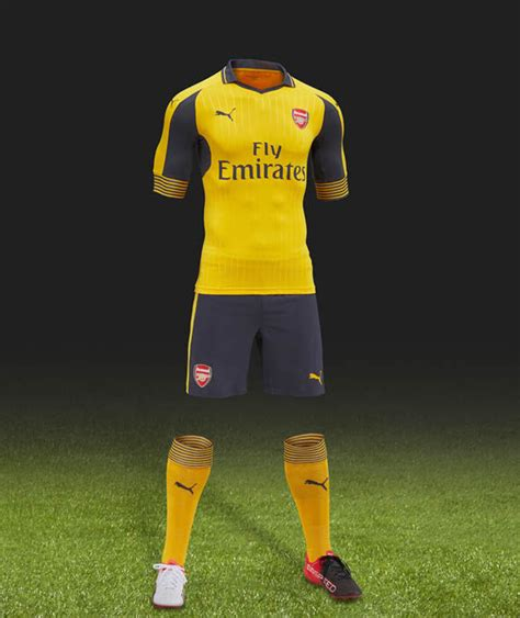arsenal yellow kit arsenal fc premier league 2016 17 kits confirmed so far