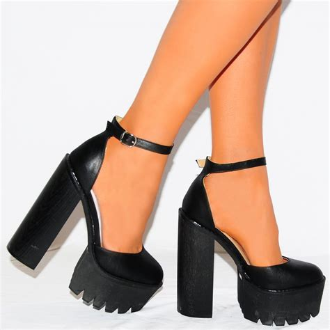 black high heeled shoes black cleated platforms high heels shoes ankle shoes