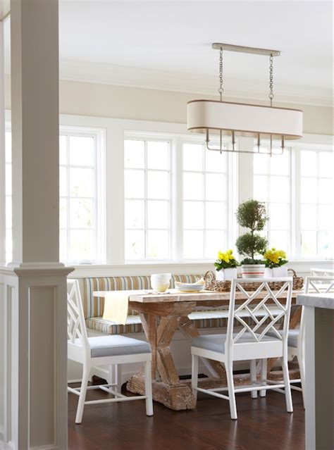 Breakfast Banquette by Striped Banquette Cottage Dining Room Muse Interiors