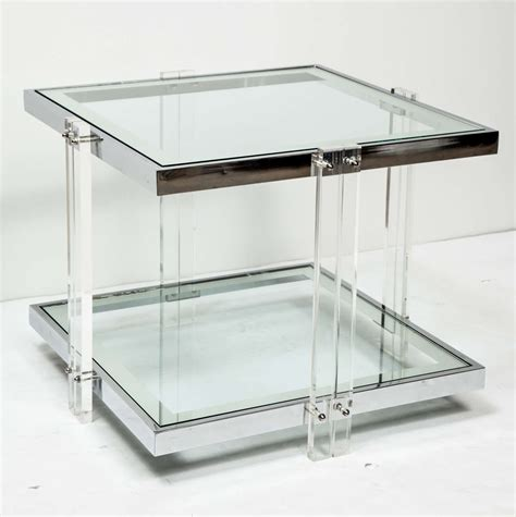 Perspex Side Table Side Table Chrome And Lucite At 1stdibs