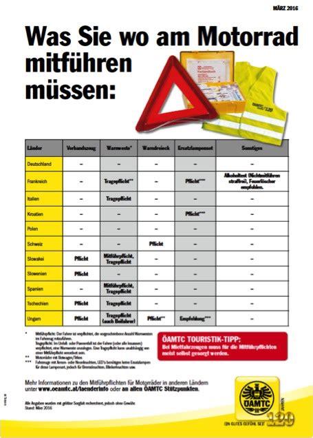 Warndreieck Motorrad Schweiz by Motorradfahren In Europa Das Muss Mitgef 252 Hrt Werden