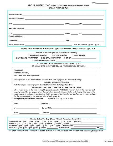 new customer registration form sles