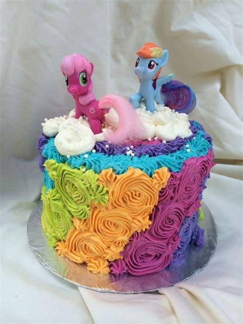 Rainbow Buttercream Uk15 1 rainbow buttercream rosettes my pony birthday cake by inphinity designs cake designs
