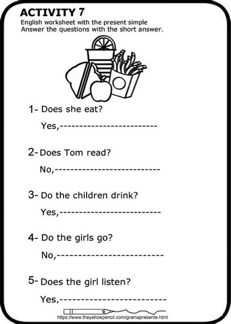 Presente simple en inglés Ficha para imprimir. Respuestas