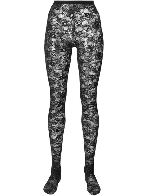 lace tights dolce gabbana floral lace tights in black lyst