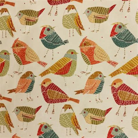 upholstery fabric birds contatto eclectic red cotton bird design drapery fabric by