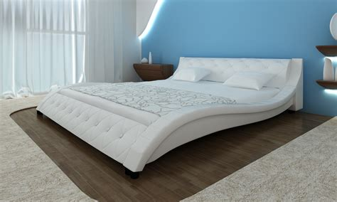 pvc bed frame new design bed frame 180x200cm white pu leather platform