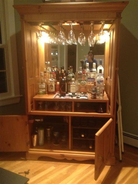 Armoire Bar Cabinet by Refurbished Tv Armoire To Wine Mini Bar Cabinet Diy