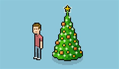 how to create an isometric pixel art christmas tree in